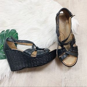 Born Black Ankle Slingback Open Toe Platform Wedge